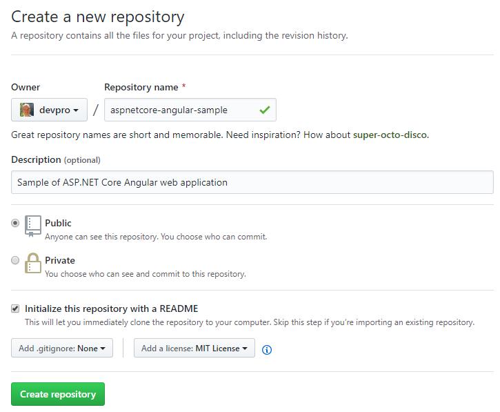 Create an Angular 7 / ASP NET Core 2 2 application and push